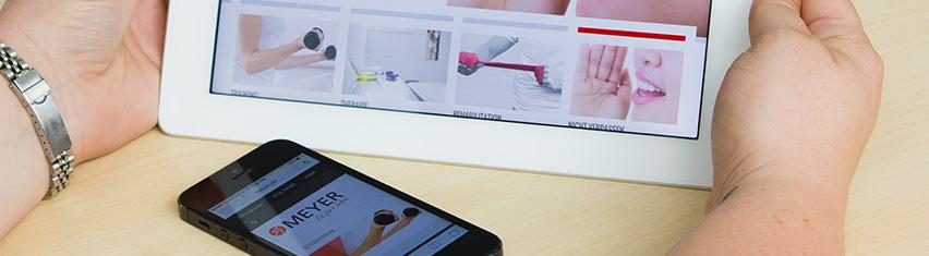 Meyer Webseite auf iPhone und iPad
