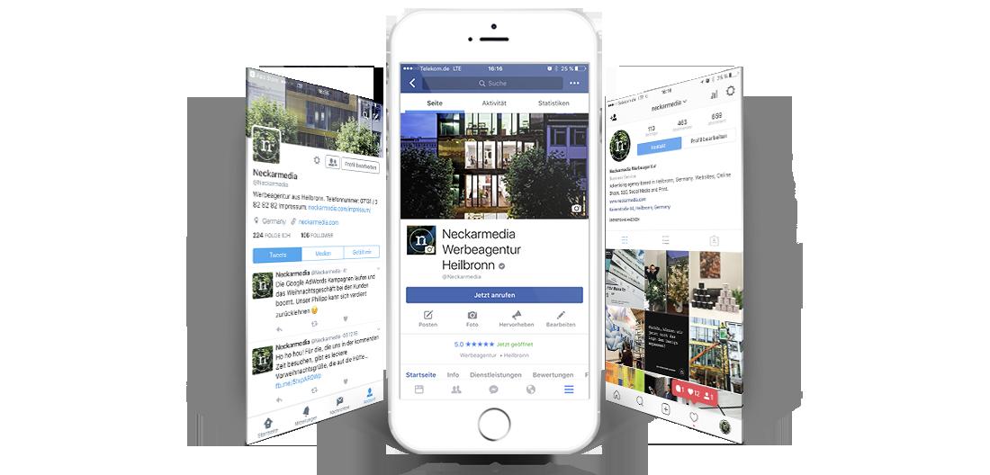Twitter, Facebook und Instagram Impressionen von Neckarmedia