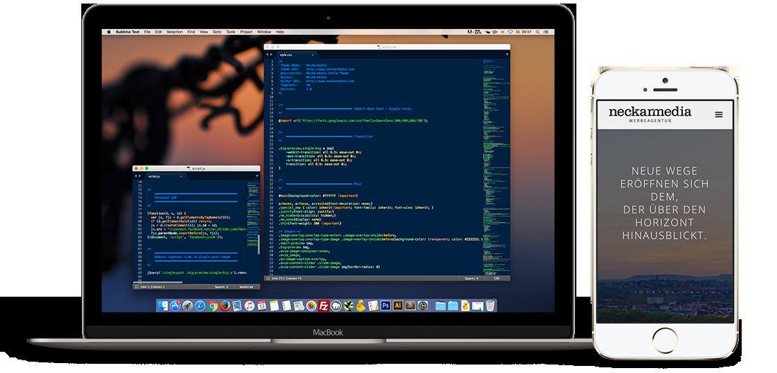 Bildschirm mit Quellcode einer Webseite